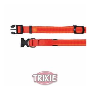 Flash nylonový svítící obojek S-M 30-40 cm/25 mm oranžový