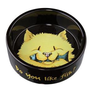 Keramická miska žlutá kočka s rybou 300ml/12cm - DOPRODEJ