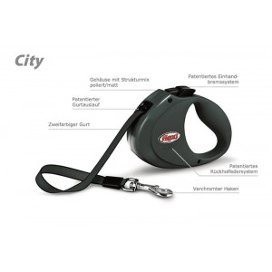Flexi CITY pásek 2 m, do 35 kg tmavě šedá