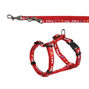 Puppy souprava postroj 23-34cm/8mm + vodítko 2,00m/8mm - červená