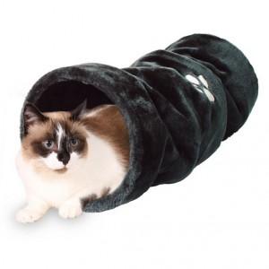 Plyšový tunel pro kočky 22/60cm - antracit